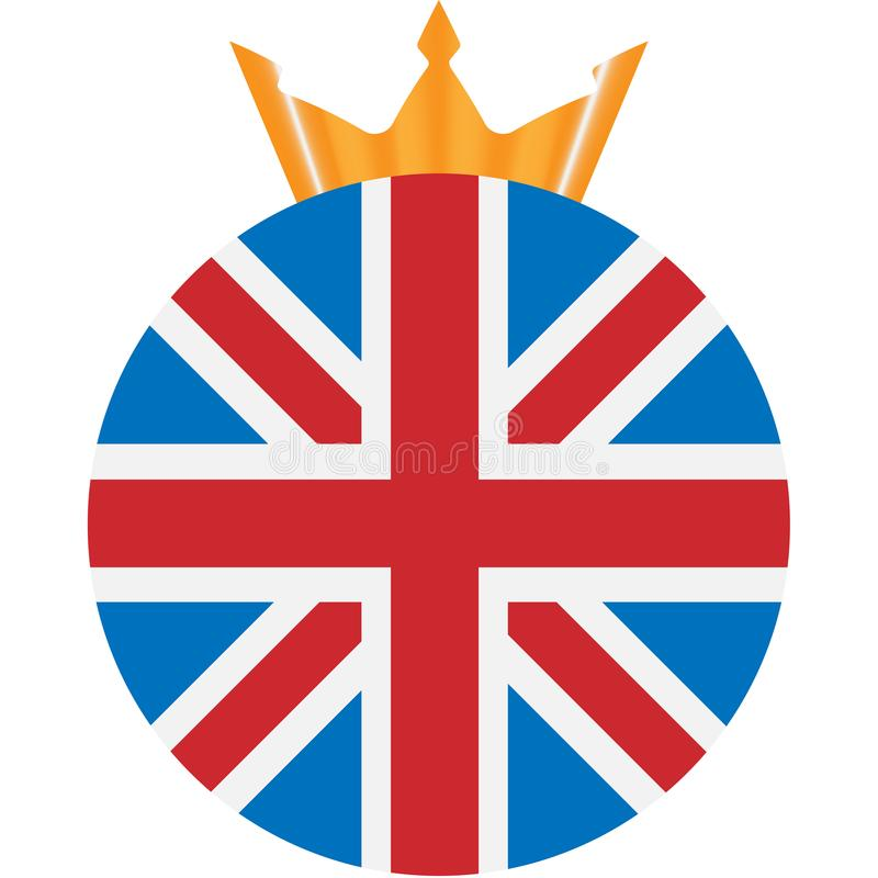 Round icon with the flag of the United Kingdom and golden crown royalty free stock photos