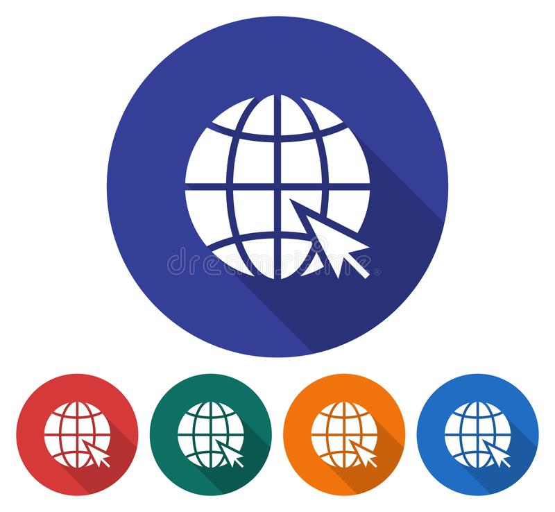 Round icon of globe with pointer arrow vector illustration