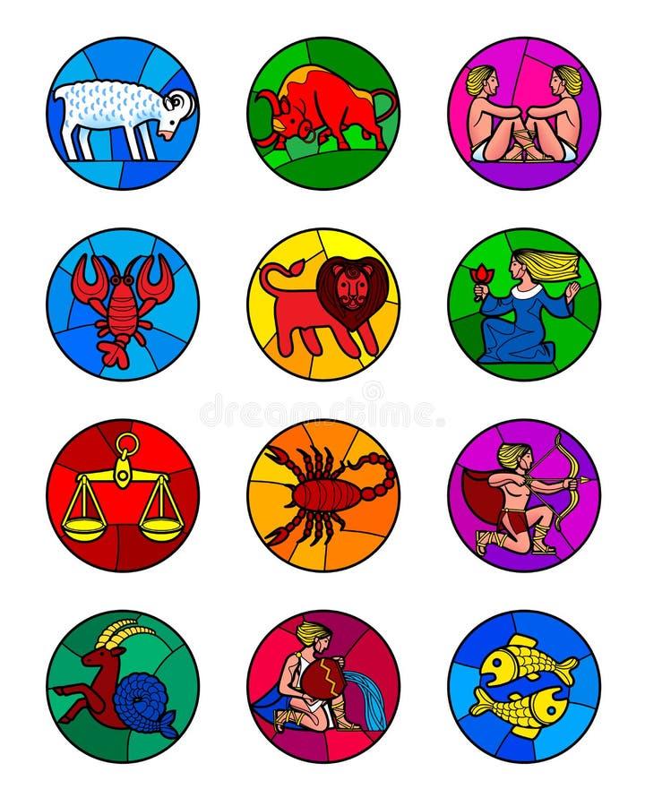 Round icon set of colorful zodiac symbols isolated on white stock illustration
