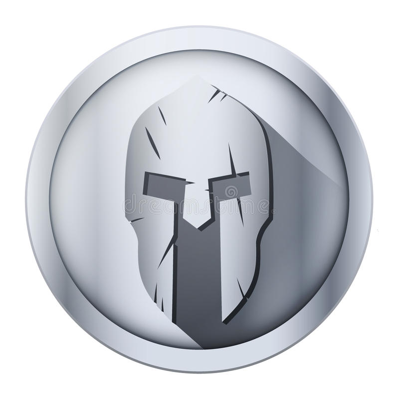 Round icon of Spartan helmet with scratches from stock illustration