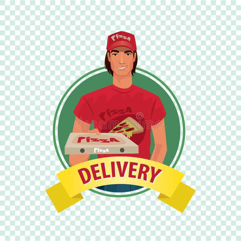 Round icon on white background with pizza courier stock illustration
