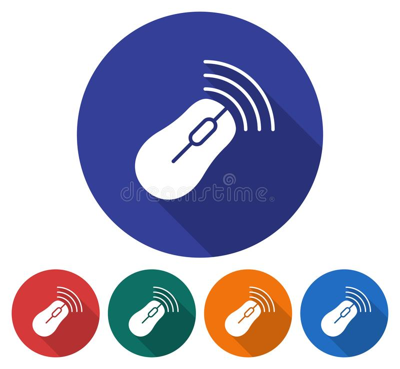Round Icon Of Wireless Mouse Stock Vector - Illustration of design ...
