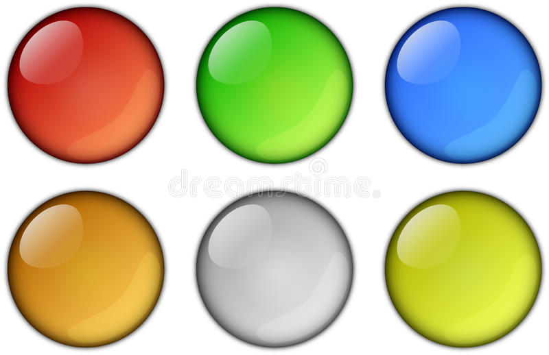 Round icons. In six bright colors royalty free illustration