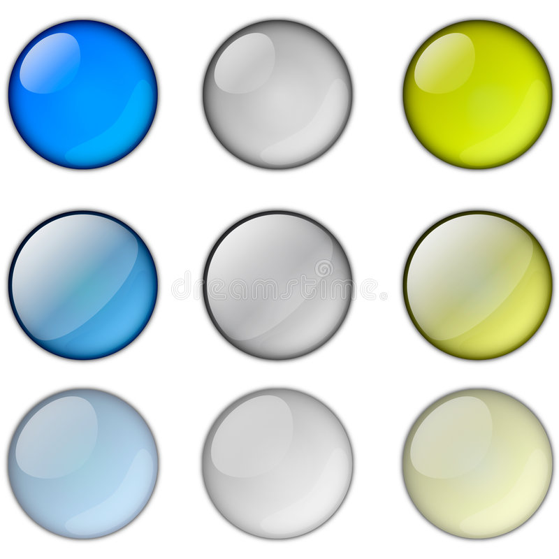 Round icons. In three colors and types stock illustration