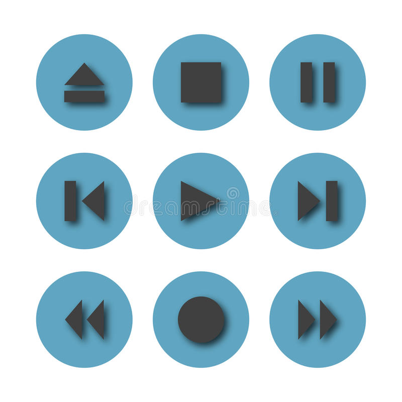 Round icons control buttons, vector illustration. Set of nine blue round control buttons of player, media icons with shadow, isolated on white background stock illustration