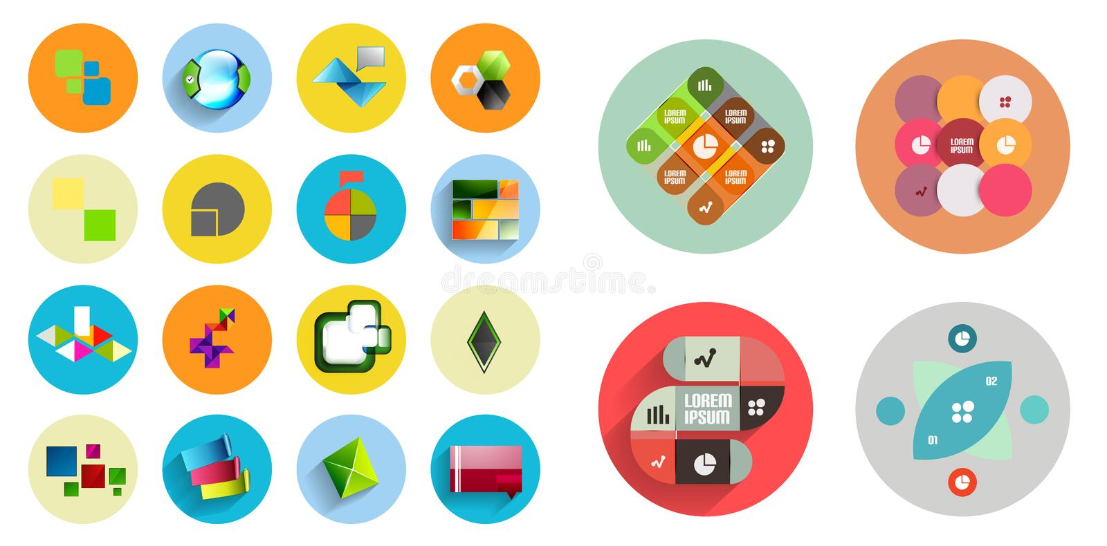Round icons with geometric infographic templates. Vector mega collection vector illustration