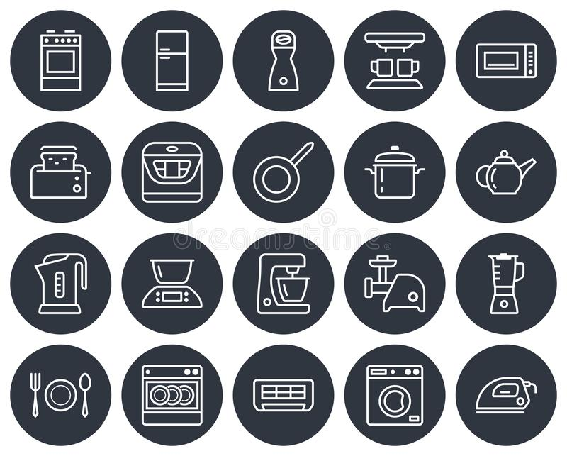 Round icons set of some kitchen utensils. And home appliances. Line style stock illustration