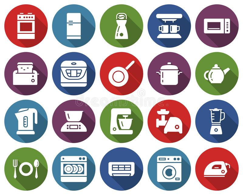 Round icons set of some kitchen utensils. And home appliances with long shadow vector illustration