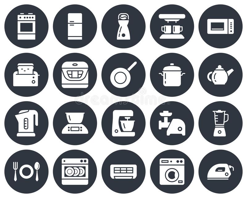 Round icons set of some kitchen utensils. And home appliances royalty free illustration