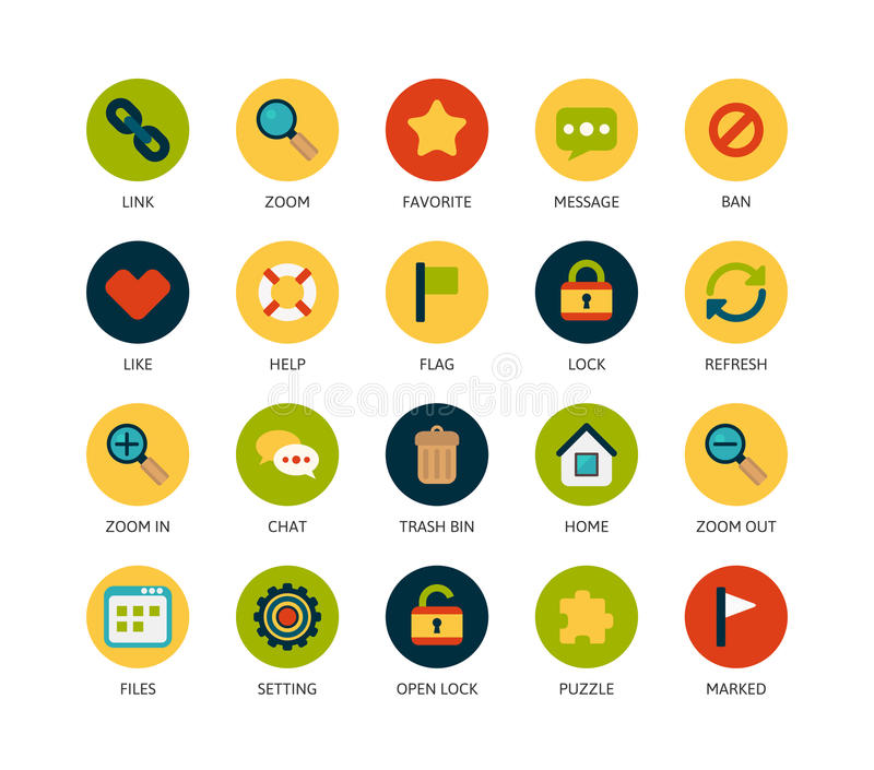 Round icons thin flat design, modern line stroke. Style, web and mobile design element, objects and vector illustration icons set 1 - universal collection vector illustration
