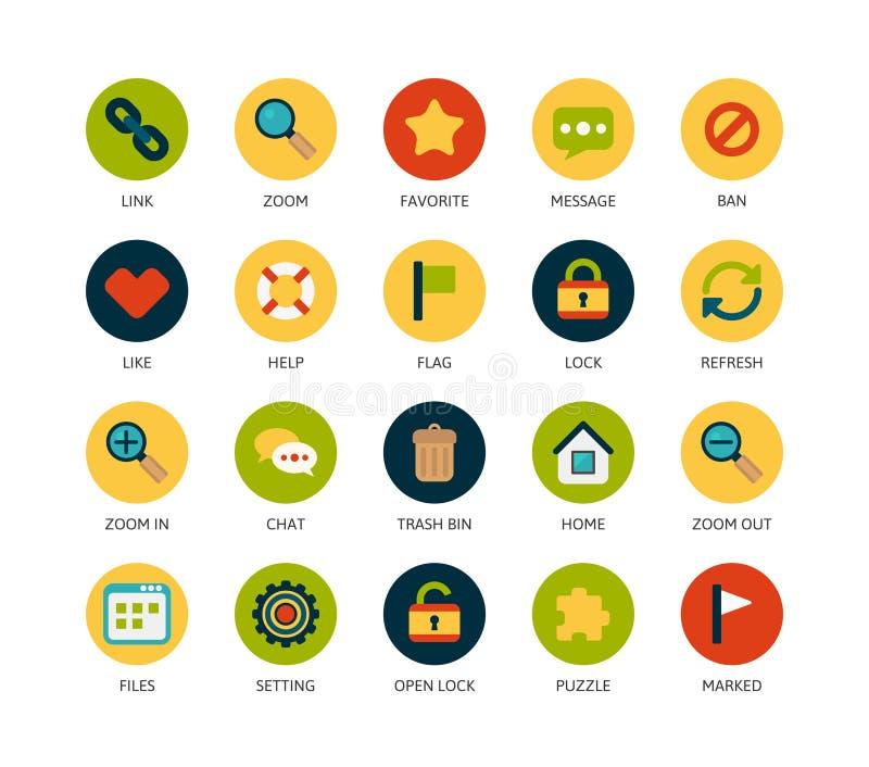 Round icons thin flat design, modern line stroke vector illustration