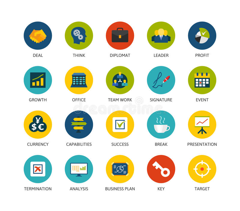 Round icons thin flat design, modern line stroke. Style, web and mobile design element, objects and vector illustration icons set 25 - business and company stock illustration
