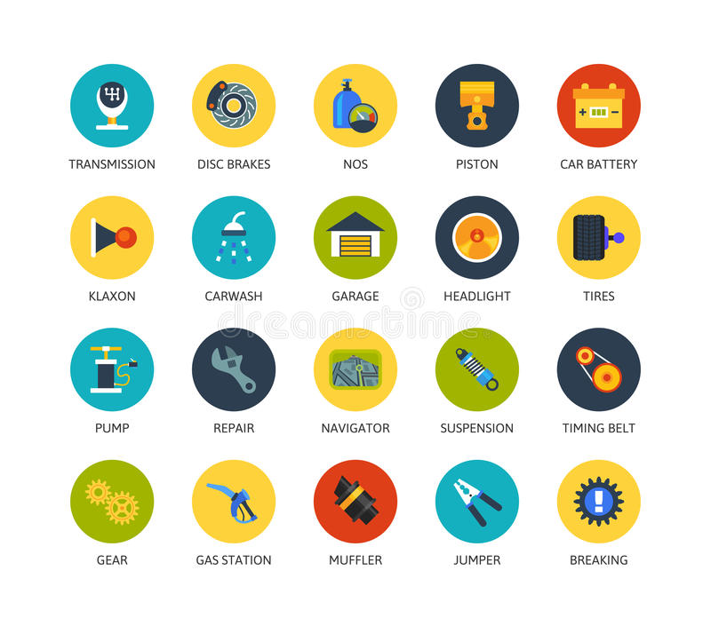 Round icons thin flat design, modern line stroke. Style, web and mobile design element, objects and vector illustration icons set 24 - car parts and services vector illustration