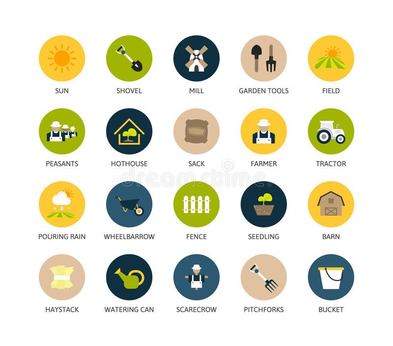 Round icons thin flat design, modern line stroke. Style, web and mobile design element, objects and vector illustration icons set 26 - farm and farming stock illustration