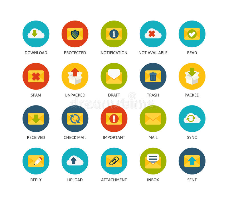 Round icons thin flat design, modern line stroke. Style, web and mobile design element, objects and vector illustration icons set 7 - mail and cloud collection stock illustration