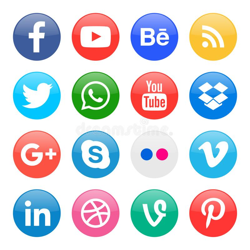 round icons for social media vector illustration