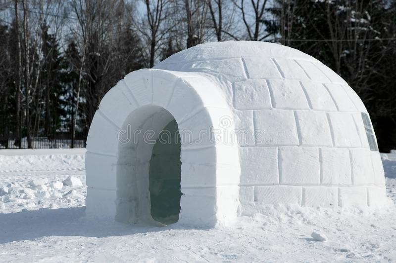 Igloo icehouse , Snowhouse yurt, Eskimo shelter built of ice royalty free stock photos