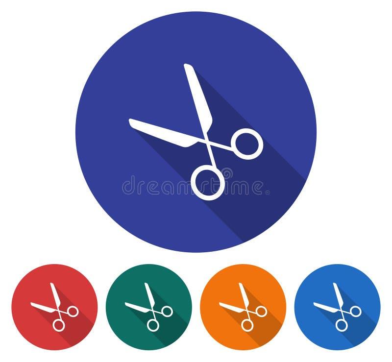 Round ikona nożyce ilustracja wektor