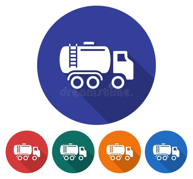 Round ikona paliwowa ciężarówka ilustracja wektor