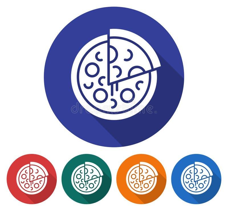 Round ikona pizza ilustracji