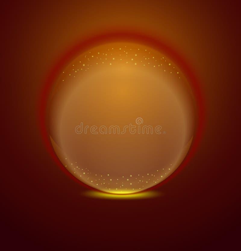 Round ikony logo, złocista błyszcząca kryształowej kuli ikona ilustracja wektor