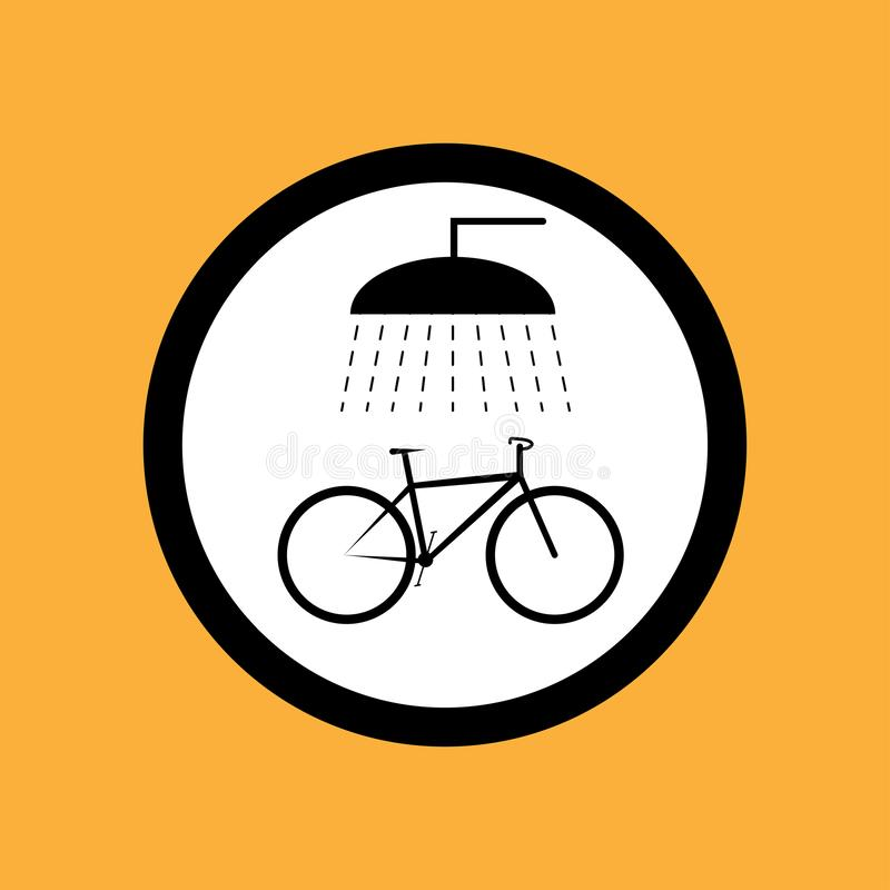 Round ikony rowerowy punkt dla myć bicykl, czerni cienka linia na białym tle - wektorowa ilustracja royalty ilustracja
