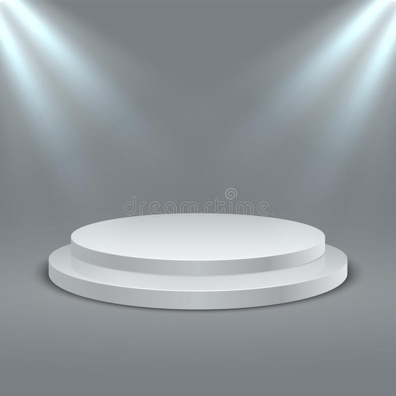 Round illuminated podium. Stage podium scene with lighting. Vector 3D two-stage platform on gray background stock illustration