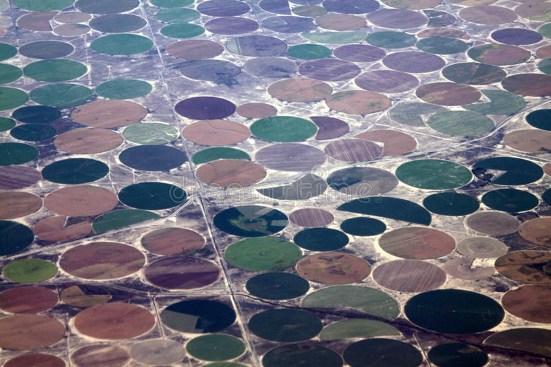 Round Irrigated Fields Aerial View royalty free stock image