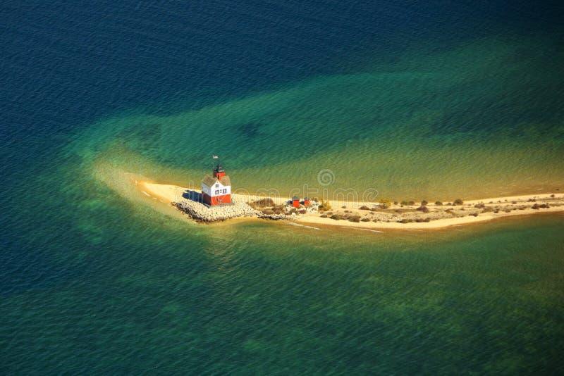 Round island lighthouse mackinac island michigan u. Aerial view of the round island lighthouse mackinac island michigan royalty free stock photography