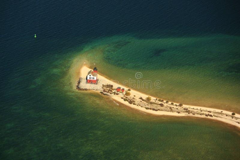 Round island lighthouse mackinac island michigan u. Aerial view of the round island lighthouse mackinac island michigan royalty free stock photo