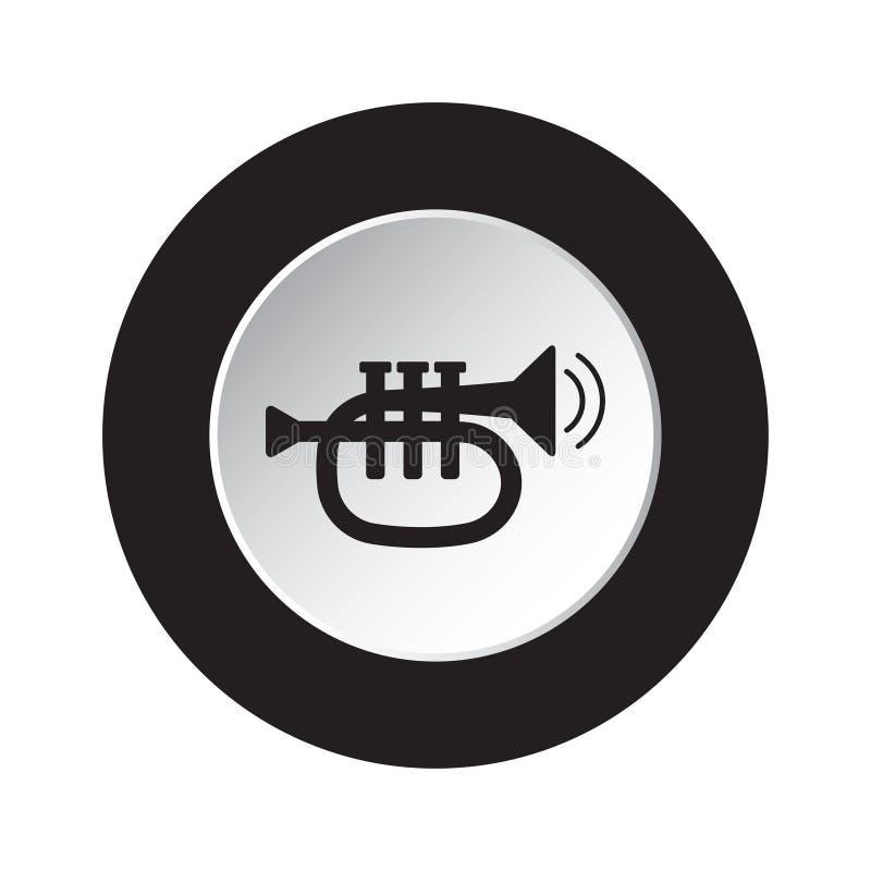 Round black, white button icon - trumpet and waves stock illustration