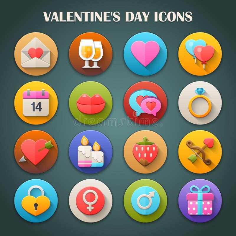 Round Jaskrawe ikony z Długim cieniem: Walentynka dzień royalty ilustracja