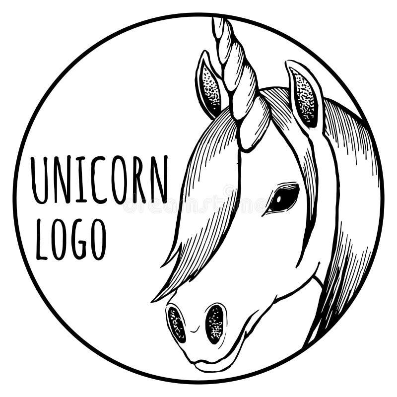 Round jednorożec logo; wektorowa ilustracja EPS10 obrazy stock
