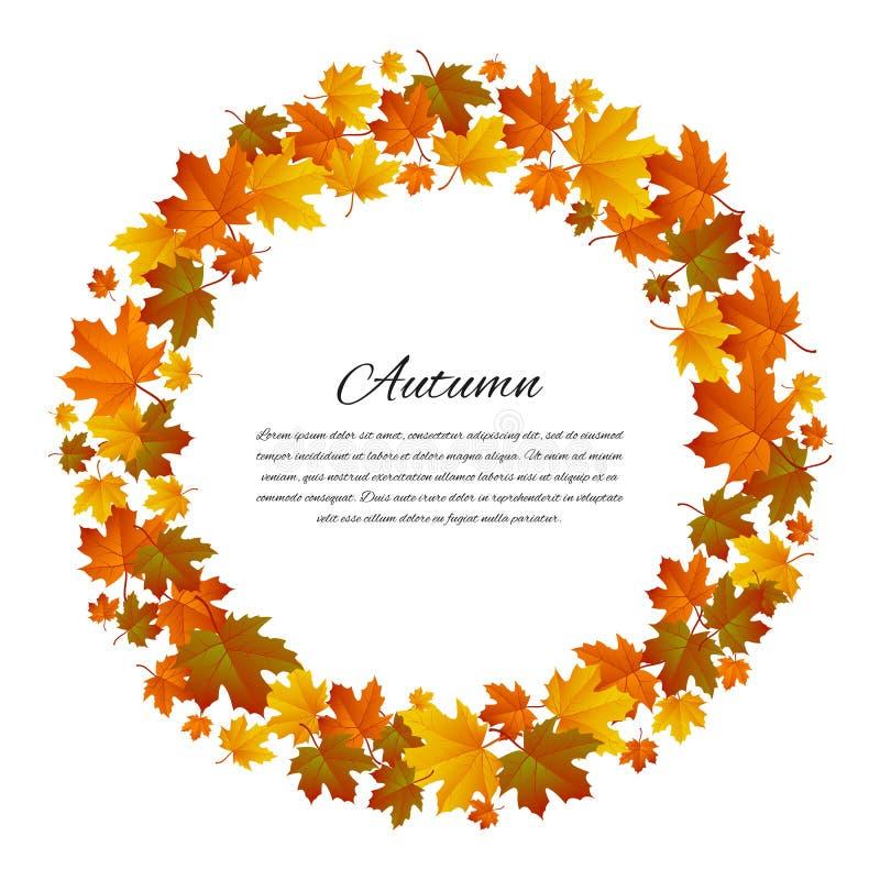 Round jesienna rama Tło z klonowymi jesień liśćmi wektor royalty ilustracja