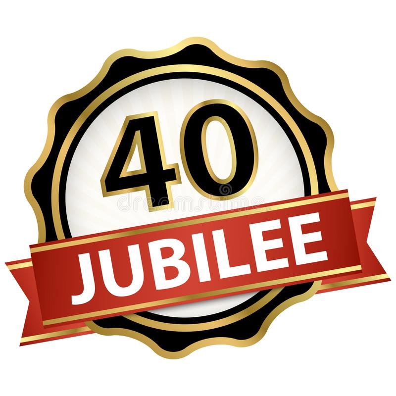 Jubilee button with banner 40 years vector illustration
