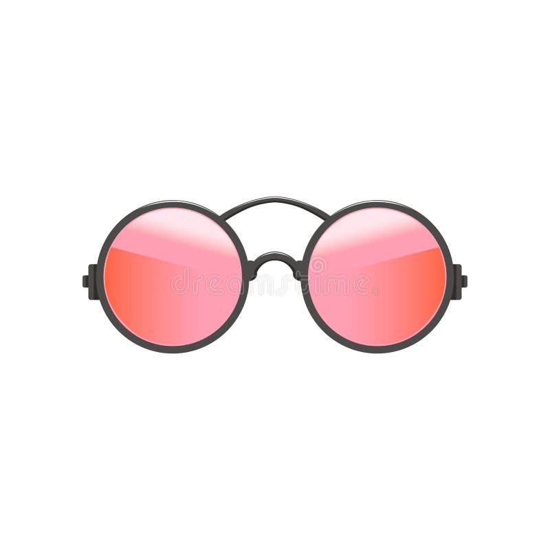 Round kółkowi modnisiów okulary przeciwsłoneczni z menchia obiektywami i szarą metal ramą Mody akcesorium dla kobiet Płaski wekto ilustracji
