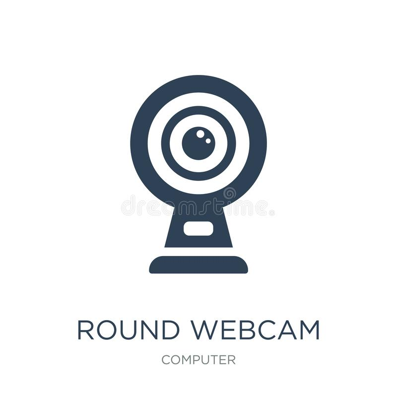 round kamery internetowej ikona w modnym projekta stylu round kamery internetowej ikona odizolowywająca na białym tle round kamer royalty ilustracja