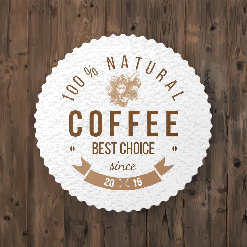 Round kawowy emblemat z typ projekt ilustracji