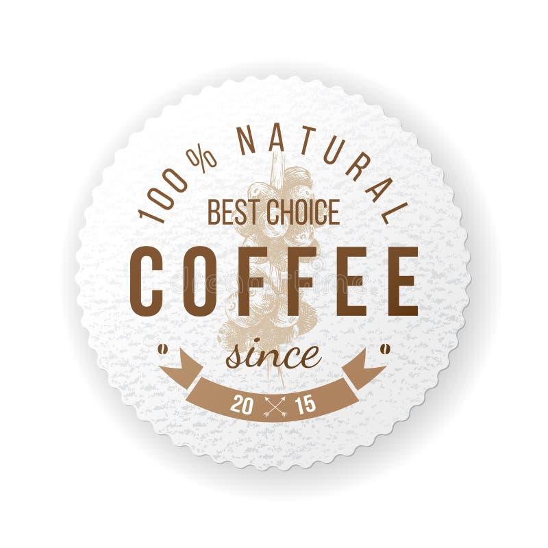 Round kawowy emblemat z typ projekt royalty ilustracja