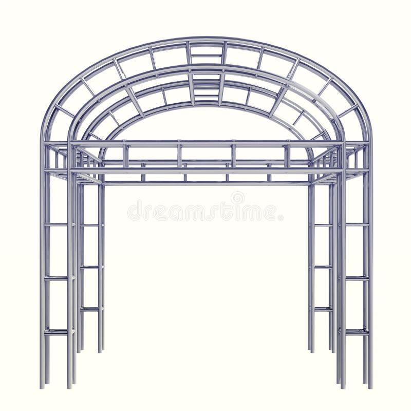 Round kończyć dach nad stal metalu budowa na bielu ilustracji