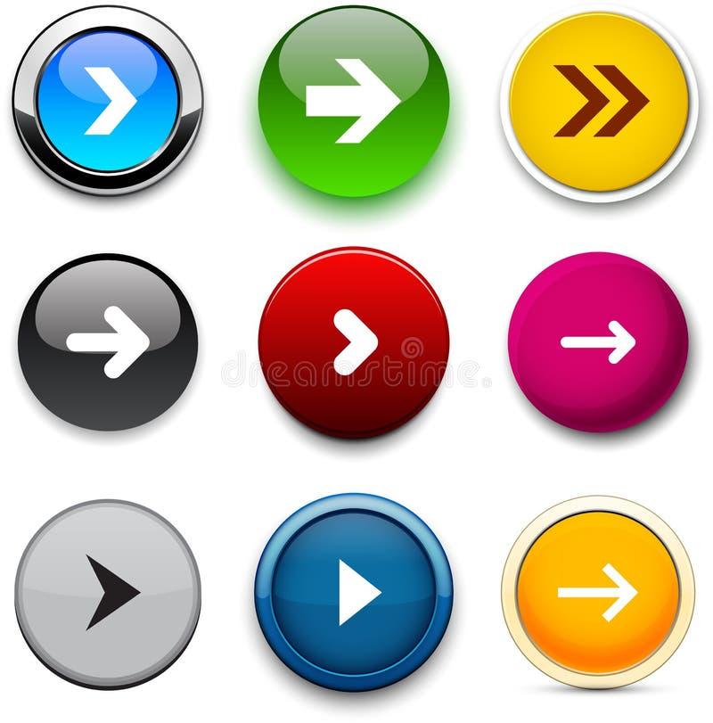 Round kolor strzała ikony. ilustracji