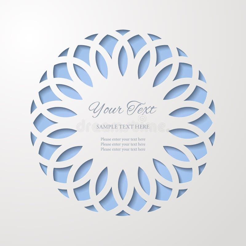 Round koronkowa wycinanki rama z cieniem na błękitnym tle Papier rżnięta 3d ornamentacyjna granica ilustracji