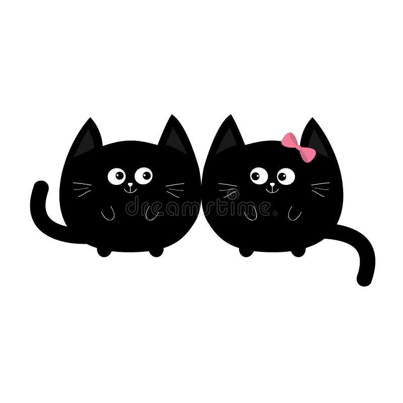 Round kształta czarnego kota ikona Miłości rodzinna para Chłopiec dziewczyny Ślicznej śmiesznej kreskówki uśmiechnięty charakter  ilustracja wektor
