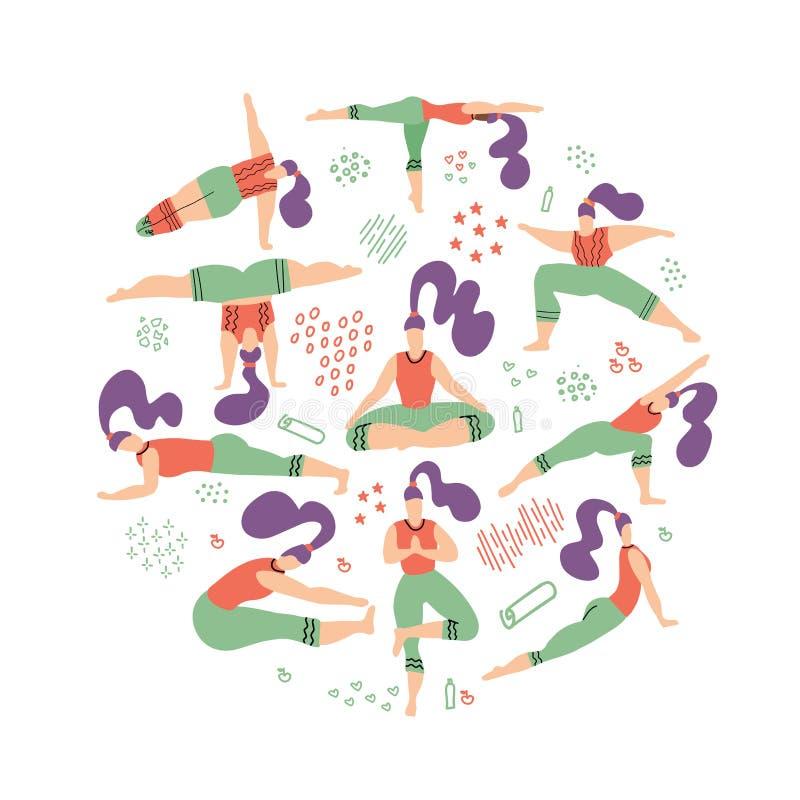 Round kształta skład joga kobiety Zdrowy Styl ?ycia Set ilustracja z joga klasą na białym tle Kobieta ilustracja wektor