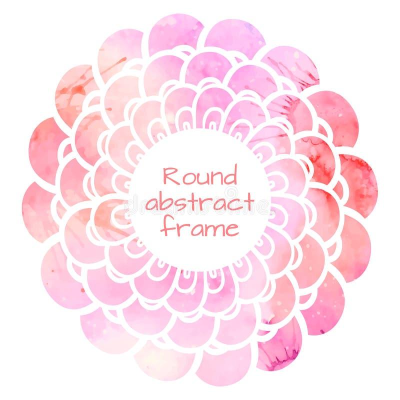 Round kwiat rama z różowym akwareli tłem ilustracja wektor