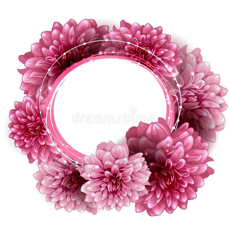 Round kwiecista rama robić peonia kwiaty ilustracja wektor