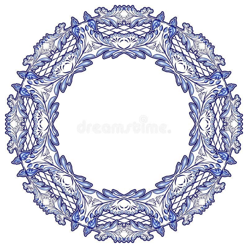 Round kwiecista rama z błękita wzorem z powodów krajowego porcelana obrazu odizolowywającego na bielu ilustracja wektor