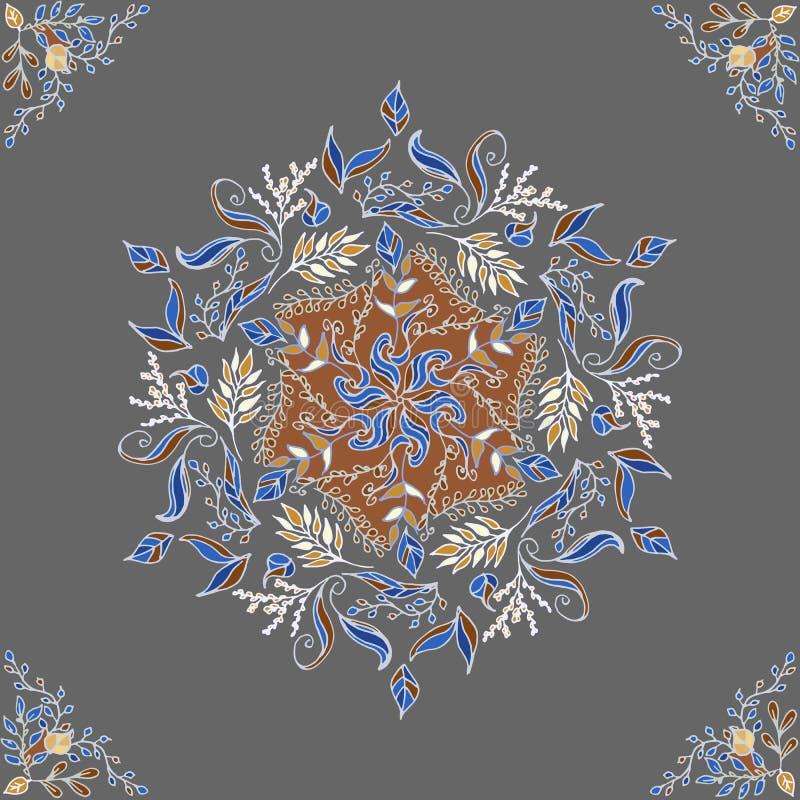 Round Kwiecisty ornament na Ciemnym tle Szablon Dekoracyjna rama Wektorowego rocznika bezszwowy wzór ilustracji