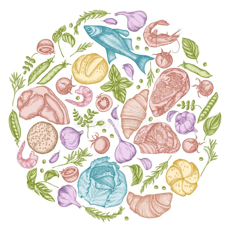 Round kwiecisty projekt z pastelowym czosnkiem, czereśniowymi pomidorami, grochami, rybą, garnelą, kapustą, wołowiną, babeczkami  ilustracja wektor
