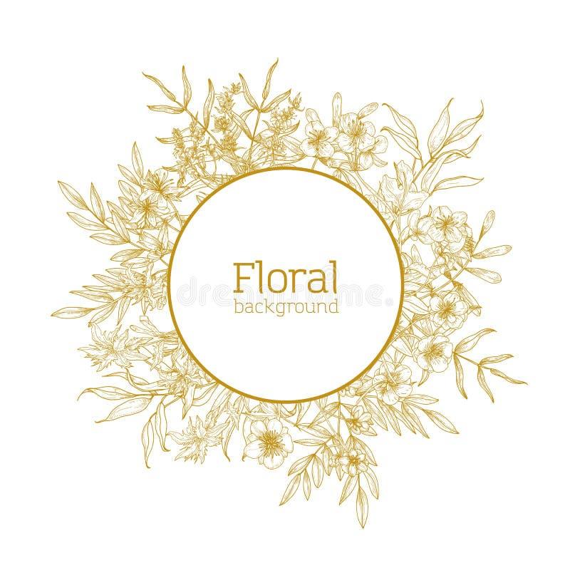 Round kwiecisty tło, dekoracyjna rama lub wianek, składać się z dzicy kwitnienie kwiaty i kwiatonośni łąkowi ziele rysujący ilustracja wektor